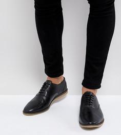 Черные кожаные туфли в стиле casual на шнуровке для широкой стопы с перфорацией ASOS - Черный