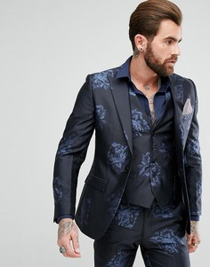 Темно-синий приталенный пиджак с узором Rudie - Темно-синий