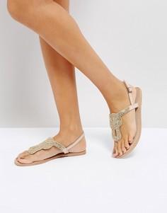 Кожаные сандалии с декоративной отделкой Pieces - Бежевый