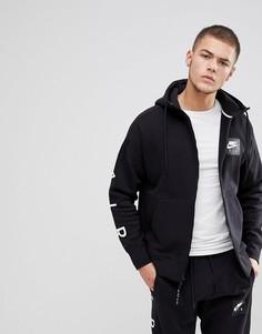 Черный худи на молнии с принтом на рукавах Nike Air 886044-010 - Черный