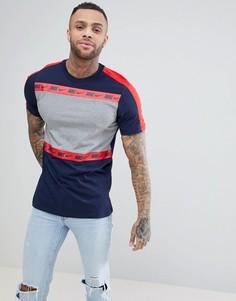 Темно-синяя футболка в стиле колор блок Nike AH8667-451 - Темно-синий