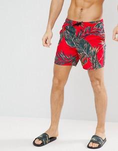 Красные шорты для плавания средней длины с лиственным принтом ASOS - Красный
