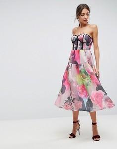 Сетчатое платье-бандо миди для выпускного с цветочным принтом ASOS - Мульти