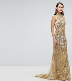 Платье макси с высоким воротом и декоративной отделкой A Star Is Born - Золотой