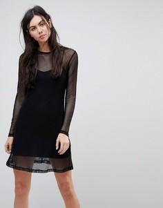 Платье с сетчатым верхним слоем Kubban - Черный