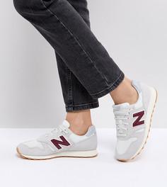 Бежевые замшевые кроссовки с бордовыми элементами New Balance 373 - Белый