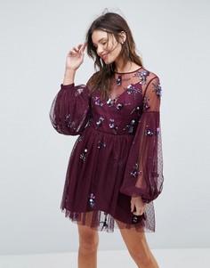 Платье мини с пышными рукавами и отделкой ASOS - Фиолетовый