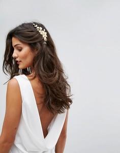 Заколка для волос с цветком и листьями Her Curious Nature - Золотой