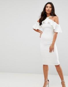 Платье миди с открытыми плечами и оборкой Girl In Mind - Белый