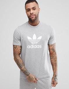 Серая футболка с логотипом-трилистником adidas Originals adicolor CY4574 - Серый