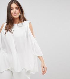 Блузка с вырезами на плечах и вышивкой Koko - Белый