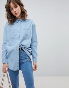Выбеленная синяя джинсовая oversize-рубашка ASOS - Синий