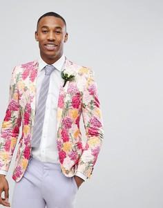 Розовый приталенный блейзер с цветочным принтом ASOS Wedding - Розовый