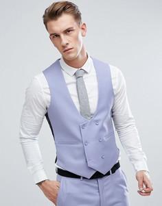 Голубой приталенный жилет из 100% шерсти ASOS Wedding - Синий
