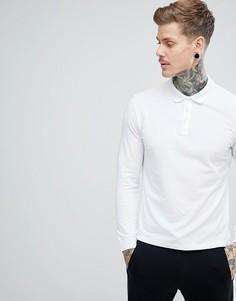 Поло белого цвета с длинными рукавами и логотипом Emporio Armani - Белый