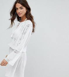Свободное пляжное платье с кружевными вставками Akasa - Кремовый