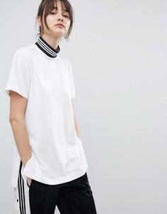 Удлиненная футболка с логотипом adidas Originals - Черный