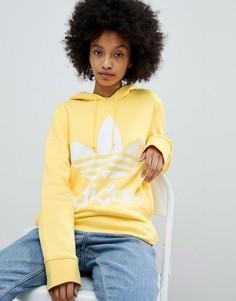 Худи желтого цвета с логотипом-трилистником adidas Originals - Желтый