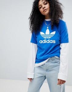 Синяя оversize-футболка с логотипом adidas Originals - Синий