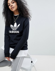Свободный черный свитшот adidas Originals adicolor - Черный