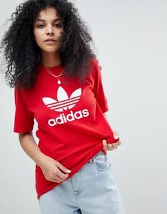 Свободная красная футболка adidas Originals adicolor - Красный