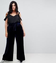 Бархатные брюки с широкими штанинами и присборенным поясом Lost Ink Plus - Темно-синий