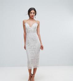 Кружевное платье-футляр миди на бретельках ASOS TALL - Белый