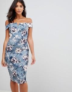 Платье-футляр со спущенными плечами и цветочным принтом в винтажном стиле Paper Dolls - Мульти