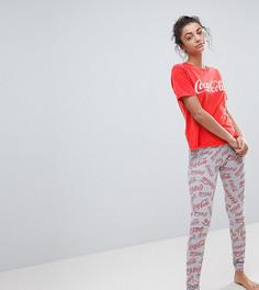 Выбеленная пижама из футболки и леггинсов с надписью Coca Cola ASOS TALL - Красный