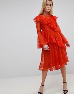 Кружевное платье-футболка миди ASOS - Оранжевый