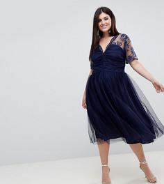 Платье миди с кружевом и сборками на топе ASOS CURVE - Темно-синий