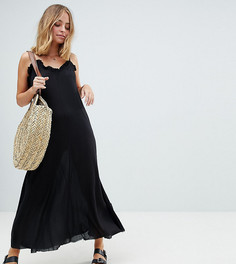 Платье макси с овальным вырезом ASOS PETITE - Черный