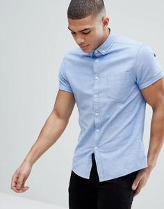 Голубая приталенная оксфордская рубашка с короткими рукавами в стиле casual от ASOS - Синий