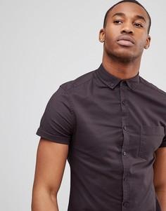 Черная приталенная оксфордская рубашка с короткими рукавами ASOS Casual - Черный