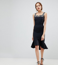 Платье миди с оборкой Little Mistress Tall - Черный