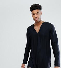 Длинная черная рубашка классического кроя из вискозы с V-образным вырезом ASOS TALL - Черный