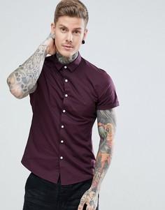 Бордовая зауженная рубашка с короткими рукавами ASOS - Красный