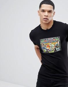 Черная футболка с принтом в стиле ретро Love Moschino - Черный