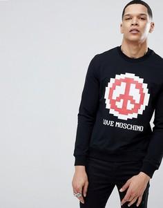 Черный свитшот с логотипом и принтом знака мира Love Moschino - Черный