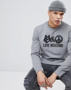 Серый свитшот с крупным логотипом Love Moschino - Серый