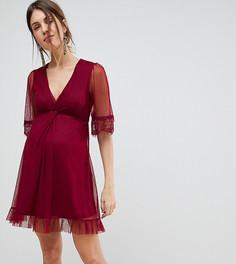 Короткое приталенное платье с кружевом ASOS MATERNITY - Фиолетовый