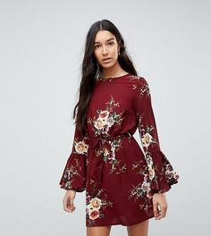 Платье с цветочным принтом, завязкой на талии и рукавами клеш Parisan Tall - Красный