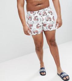 Короткие шорты для плавания с принтом креветок ASOS PLUS - Белый