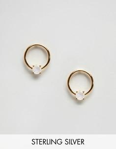 Серьги-гвоздики с лунным камнем Carrie Elizabeth - Золотой