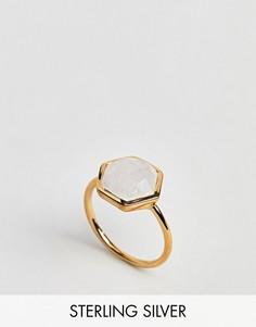 Кольцо с шестигранным лунным камнем Carrie Elizabeth - Золотой