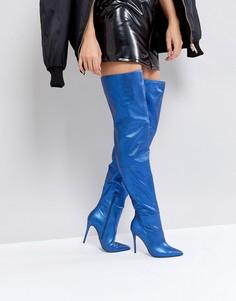 Синие кожаные высокие сапоги на каблуке KG By Kurt Geiger Vita - Синий