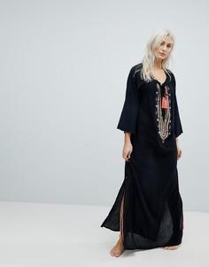 Пляжное платье макси с кисточками Liquourish - Черный Liquorish