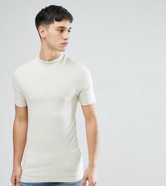 Бежевая облегающая футболка с высоким воротом ASOS TALL - Бежевый