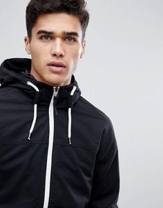 Легкая куртка с капюшоном и контрастной молнией Jack & Jones Originals - Черный