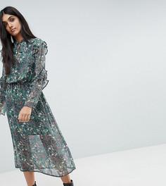 Платье миди с вырезом капелькой и оборками на рукавах Influence Tall - Мульти